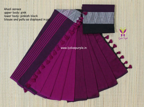lpmkc05-handloom khadi cotton saree with temple thread border in mid saree - Lydiaspurple