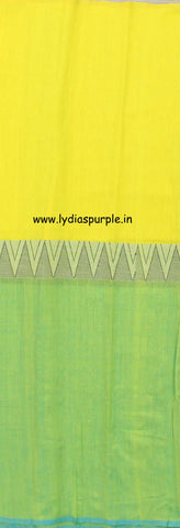 lpmkc06-handloom khadi cotton saree with temple thread border in mid saree - Lydiaspurple