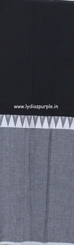 lpmkc07-handloom khadi cotton saree with temple thread border in mid saree - Lydiaspurple