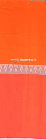 lpmkc08-handloom khadi cotton saree with temple thread border in mid saree - Lydiaspurple