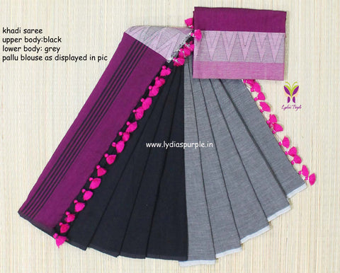 lpmkc09-handloom khadi cotton saree with temple thread border in mid saree - Lydiaspurple