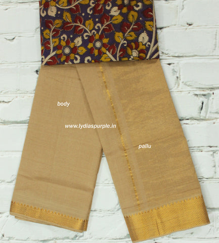 MPBK-mangalari  cotton handloom saree with kalamkari blouse( double blouse)