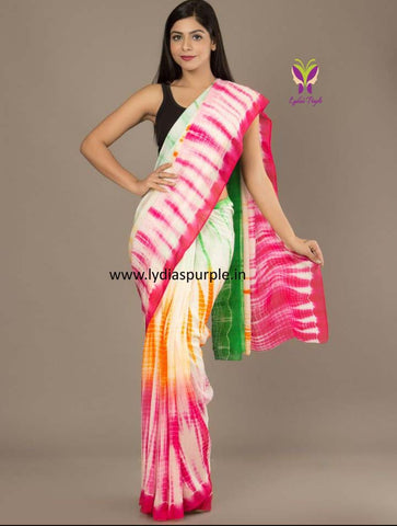 KMCMCSS-designer multi colour shibori malmal cotton saree with blouse
