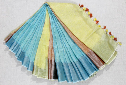 BHML-sky blue yellow pure linen saree