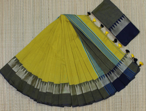 TKMYNBCS- soft temple border mustard yellow and navy blue khadi cotton saree with contrast blouse