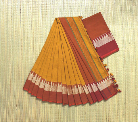 Soft temple border khadi cotton saree - lydiaspurple