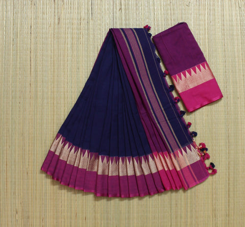 navy blue and pink khadi cotton saree with temple border