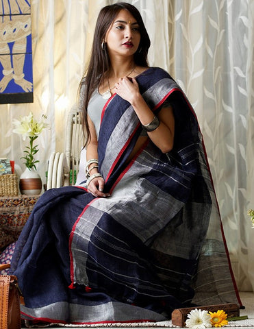 BNBSZ01- Navy blue linen saree with silver zari border and Running blouse