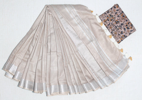 LPSCPKB01- handloom khadi cotton saree with silver zari border with running blouse and extra designer blouse