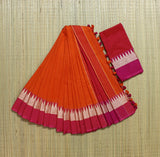 TKOPCS- soft temple border orange and pink khadi cotton saree with contrast blouse