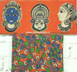 FOKBB01-orange faces kalamkari border paired with floral blouse - Lydiaspurple