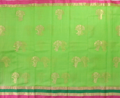 IKSG-PARROT GREEN kota SILK saree with zari butta and satin zari borde - LydiasPurple
