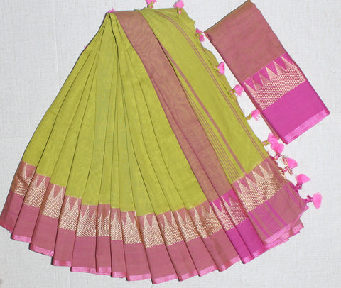 TKPGPNKCS- soft temple border parrot green and pink khadi cotton saree with contrast blouse