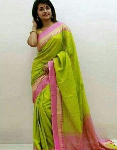 TKPGPKCS- soft temple border parrot green and pink khadi cotton saree with contrast blouse