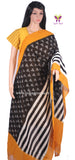 PCDIMYBW-01 POCHAMPALLY DOUBLE IKKAT HAND WOVEN MUSTARD YELLOW AND BLACK DUPATTA - LydiasPurple