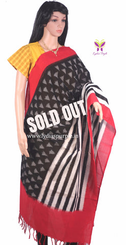 PCDIRBW-01 POCHAMPALLY DOUBLE IKKAT HAND WOVEN RED AND BLACK DUPATTA - LydiasPurple