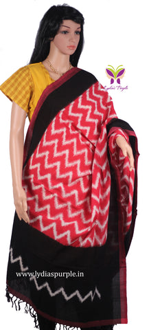 PCDIBRWZ-01 POCHAMPALLY DOUBLE IKKAT HAND WOVEN BLACK AND RED DUPATTA WITH WHITE ZIG ZAG LINES - LydiasPurple