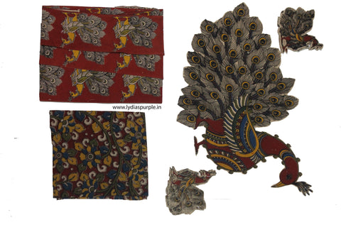 KBPM09-Kalamkari patch for saree - LydiasPurple