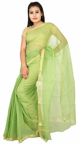 PKCSPG-plain kota cotton pista green saree - Lydiaspurple