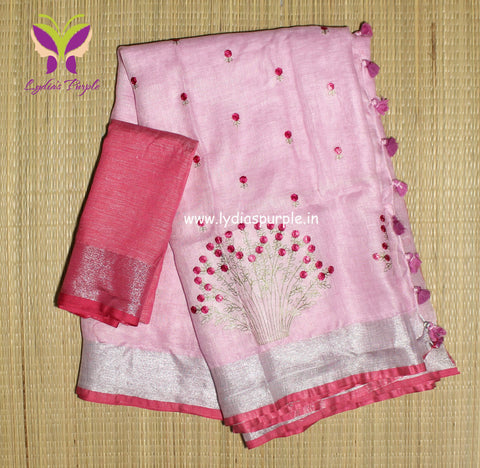 BSBPFLS-  baby pink floral embroidered linen saree with silver zari border