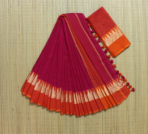 Soft temple border pink and orange khadi cotton saree - lydiaspurple