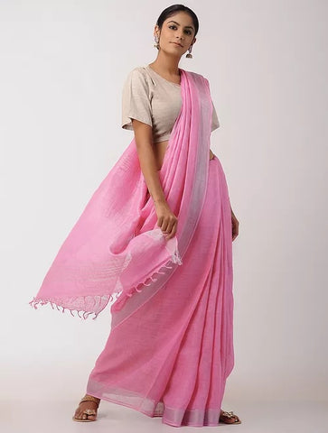 9221a41fb355ce ZCP01-checks silver zari linen pink saree with additional ikkat ...