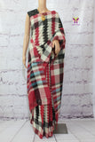 PCBPW01- Pochampally ikat cotton saree black and pink zigzag pattern all over - Lydiaspurple