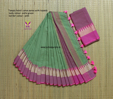 TKPGPCS- soft temple border pista green and pink khadi cotton saree with contrast blouse