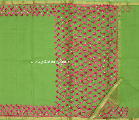 KAWPG-kota pista green aari and pearl work saree