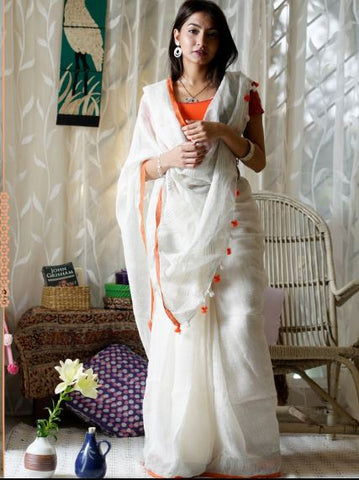 pure white linen saree - lydiaspurple