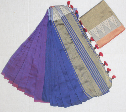 LPMKC12-handloom khadi cotton saree with temple thread border in mid saree