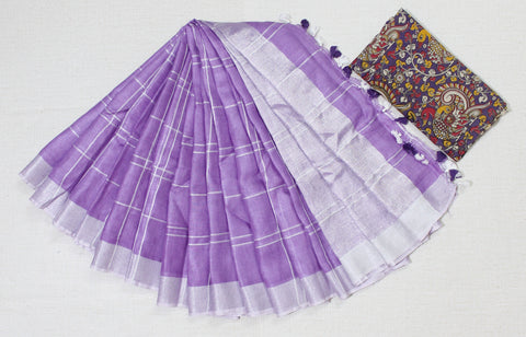 BHLSPC-purple checks linen saree with silver zari border with extra kalamkari blouse
