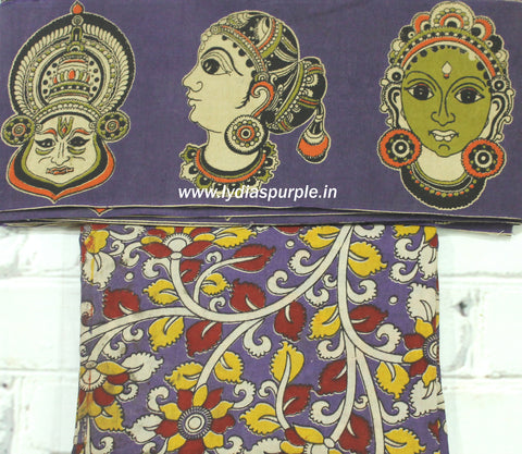FPKBB01-yellow faces kalamkari border paired with floral kalamkari blouse - Lydiaspurple