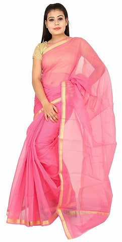 PKCSP-plain kota cotton pink saree - Lydiaspurple