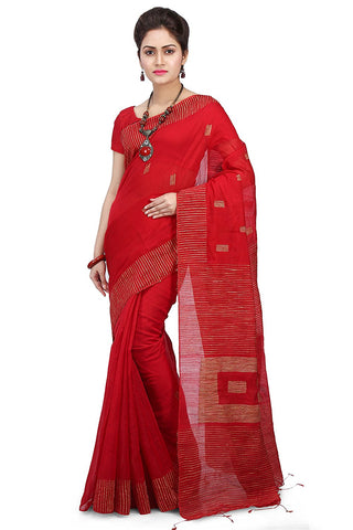 BGSR01- Ghicha Silk tant red saree - Lydiaspurple