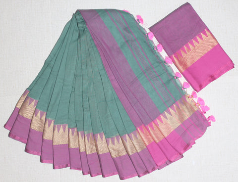 TKRGPKCS- soft temple border  rama green and pink khadi cotton saree with contrast blouse