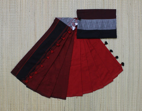 blackish red khadi cotton saree with temple border - lydiaspurple