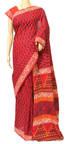 Baghru malmal cotton saree - lydiaspurple