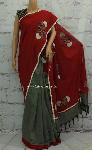 KAPRG- khadi kalamkari Applique work saree - Lydiaspurple