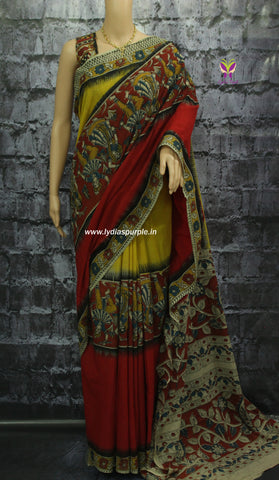 kcsdd-Kalamkari dyed Cotton  Saree - Lydiaspurple