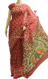 LPBRK01- baghru block printed malmal cotton saree with kalamkari pallu - LydiasPurple