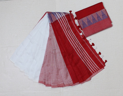 lpmkc04-handloom khadi cotton saree with temple thread border in mid saree
