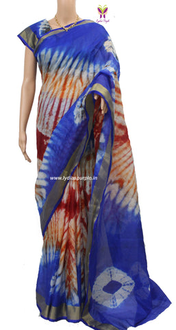 KSB-kota Doria shibori dyed multi coloured mercerised cotton saree - LydiasPurple