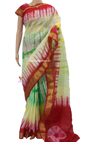 KSR-kota Doria shibori dyed multi coloured mercerised cotton saree - LydiasPurple