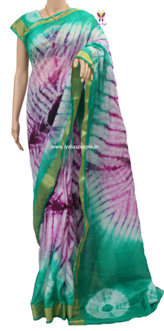 KSG-kota Doria shibori dyed multi coloured mercerised cotton saree - LydiasPurple