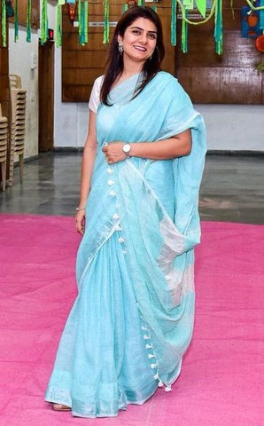 BSBSZ01- sky blue linen saree with silver zari border and Running blouse