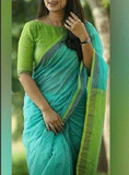 plain linen saree blue green color - lydiaspurple