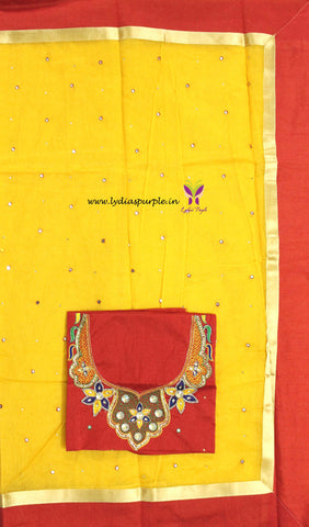 SMBYR01-Supernet  mirror work saree and paired with  maggam work blouse - LydiasPurple
