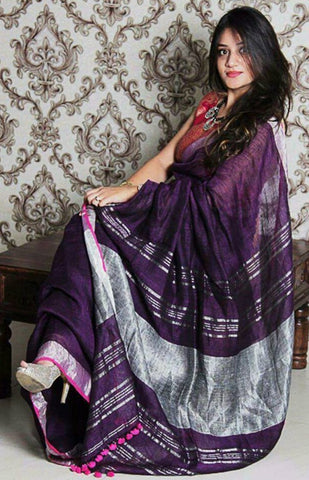 BPSZ01- Purple linen saree with silver zari border and Running blouse