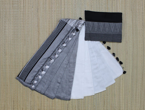 white grey khadi cotton saree with temple border - lydiaspurple